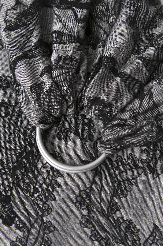 Ringsling, Jacquard Weave, with gathered shoulder (60% cotton 40% linen) - LINEN TIME (without skull) - long 2.1m #babywearing