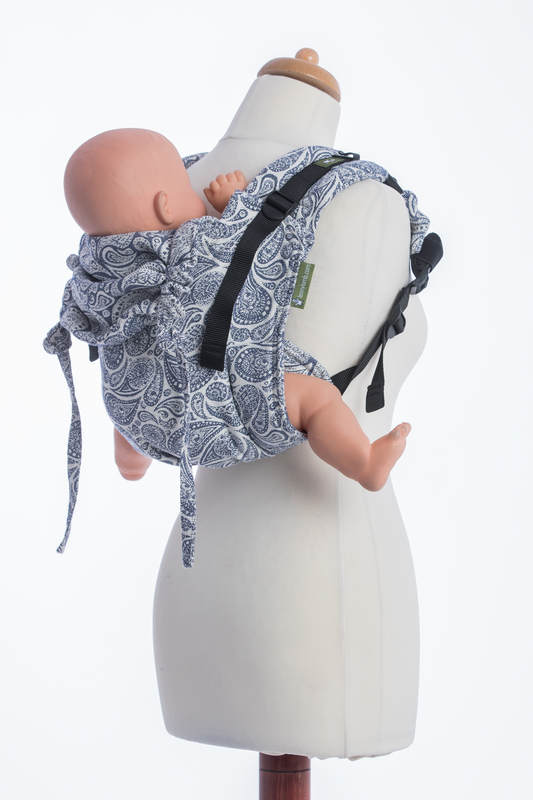 Lenny Buckle Onbuhimo baby carrier, standard size, jacquard weave (100% cotton) - PAISLEY NAVY BLUE & CREAM (grade B) #babywearing