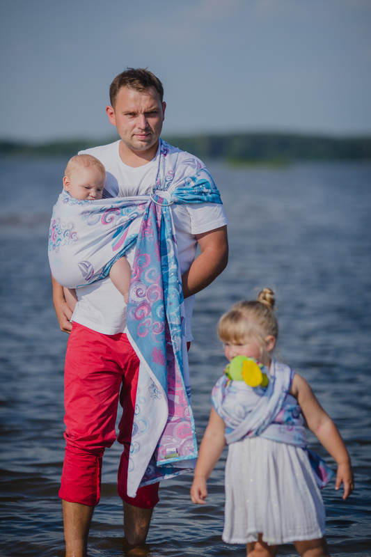 Ringsling, Jacquard Weave (100% cotton), with gathered shoulder - HIGH TIDE #babywearing