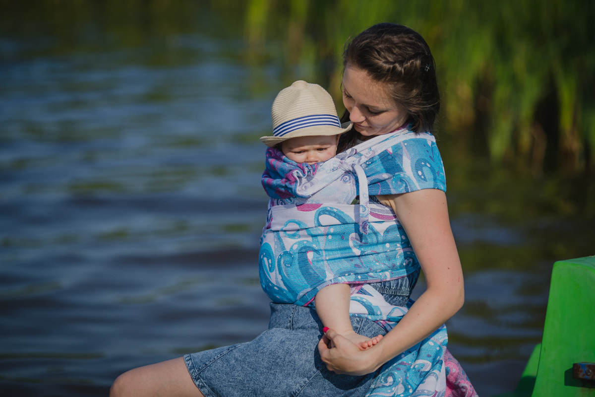 WRAP-TAI carrier Mini with hood/ jacquard twill / 100% cotton / HIGH TIDE #babywearing