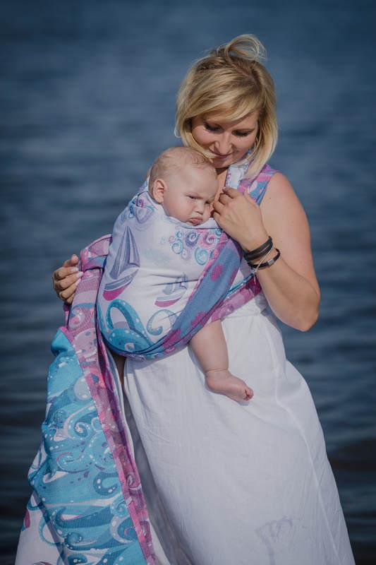 Baby Wrap, Jacquard Weave (100% cotton) - HIGH TIDE - size M #babywearing