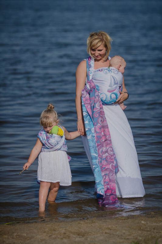 Baby Wrap, Jacquard Weave (100% cotton) - HIGH TIDE - size XL #babywearing