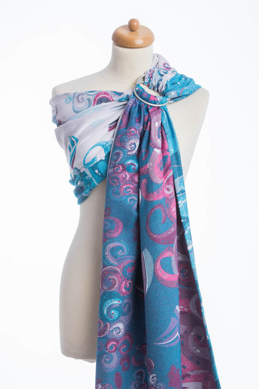Ringsling, Jacquard Weave (100% cotton), with gathered shoulder - HIGH TIDE (grade B) #babywearing