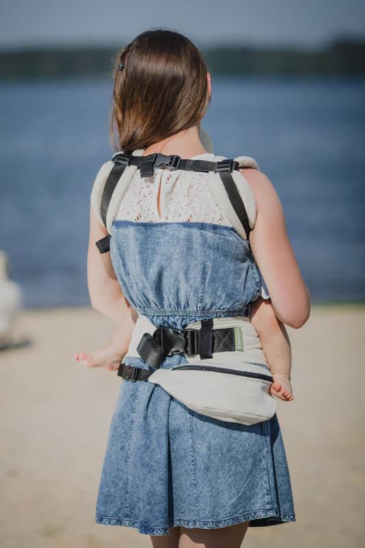 Waist Bag made of woven fabric, (60% cotton, 40% linen) - LITTLE HERRINGBONE NATURE #babywearing