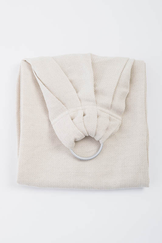 Ringsling, Jacquard Weave (60% cotton, 40% linen) - LITTLE HERRINGBONE NATURE - long 2.1m (grade B) #babywearing