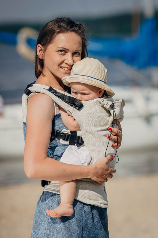 Ergonomic Carrier, Baby Size, jacquard weave 60% cotton 40% linen - LITTLE HERRINGBONE NATURE, Second Generation (grade B) #babywearing