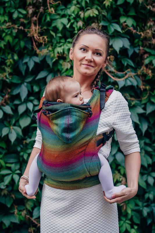 Ergonomic Carrier, Baby Size, herringbone weave 100% cotton - LITTLE HERRINGBONE IMAGINATION DARK- Second Generation #babywearing