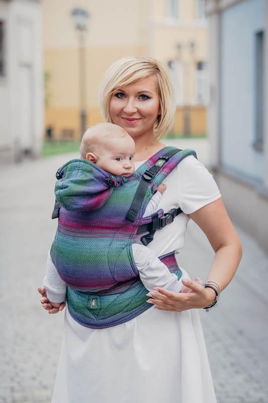 Ergonomic Carrier, Baby Size, herringbone weave 100% cotton - LITTLE HERRINGBONE IMPRESSION DARK - Second Generation #babywearing