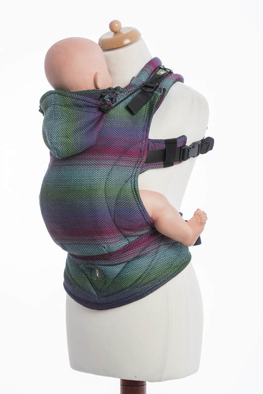 Ergonomic Carrier, Toddler Size, herringbone weave 100% cotton - LITTLE HERRINGBONE IMPRESSION DARK - Second Generation (grade B) #babywearing