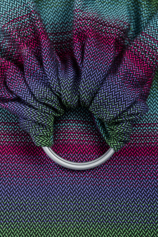 RingSling, Fischgrätmuster (100% Baumwolle), Raffung an den Ringen - LITTLE HERRINGBONE IMPRESSION DARK  - long 2.1m #babywearing