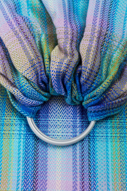RingSling, Fischgrätmuster (100% Baumwolle), Raffung an den Ringen - LITTLE HERRINGBONE PETREA - long 2.1m #babywearing
