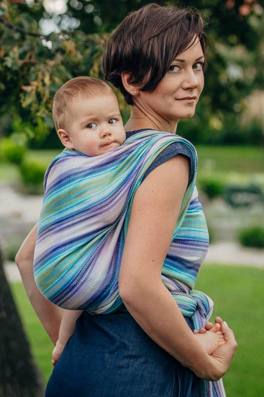 Chusta do noszenia dzieci, tkana splotem jodełkowym, bawełna - MAŁA JODEŁKA PETREA - rozmiar M #babywearing