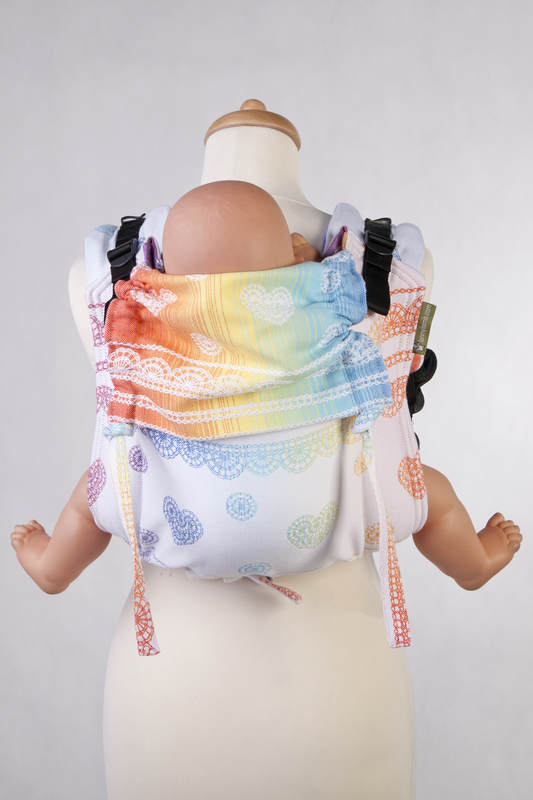 Lenny Buckle Onbuhimo Tragehilfe, Größe Standard, Jacquardwebung (100% Baumwolle) - RAINBOW LACE REVERS #babywearing
