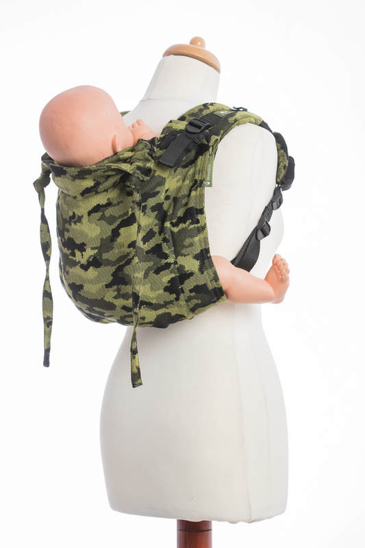 Lenny Buckle Onbuhimo baby carrier, standard size, jacquard weave (100% cotton) - GREEN CAMO #babywearing
