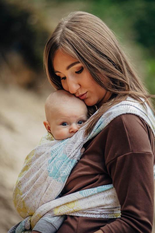 Fular, tejido jacquard (80% algodón, 17% lana merino, 2% seda, 1% cachemira) - DAISY PETALS - talla L #babywearing