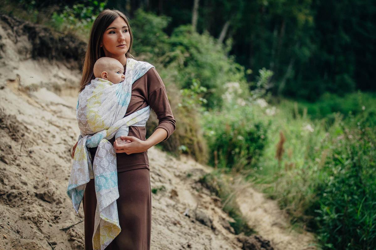Fular, tejido jacquard (80% algodón, 17% lana merino, 2% seda, 1% cachemira) - DAISY PETALS - talla M #babywearing