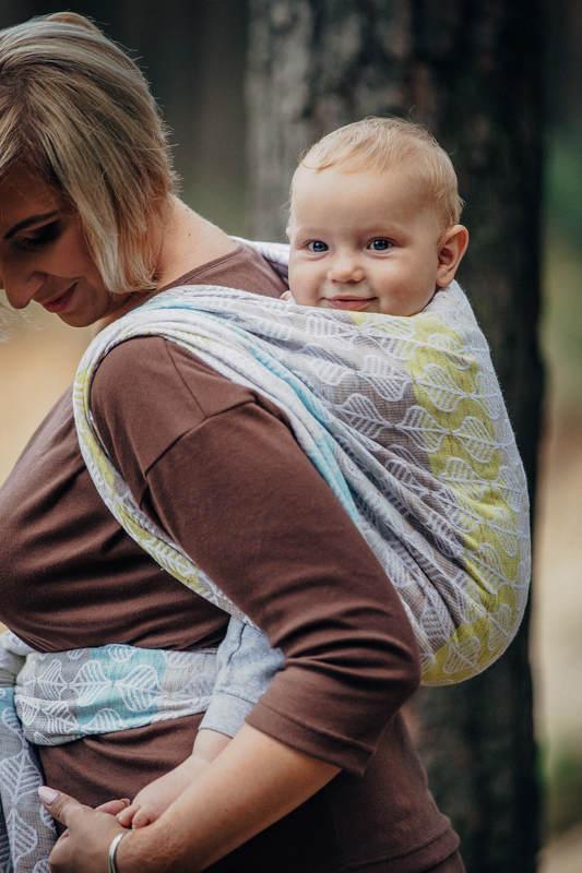 Baby Wrap, Jacquard Weave (80% cotton, 17% merino wool, 2% silk, 1% cashmere) - DAISY PETALS - size XS #babywearing