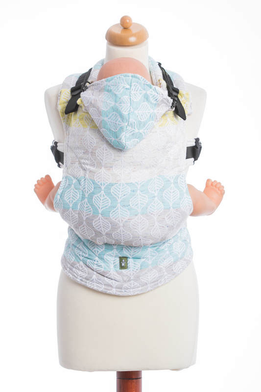 Ergonomic Carrier, Baby Size, jacquard weave 80% cotton, 17% merino wool, 2% silk, 1% cashmere - wrap conversion from DAISY PETALS, Second Generation #babywearing