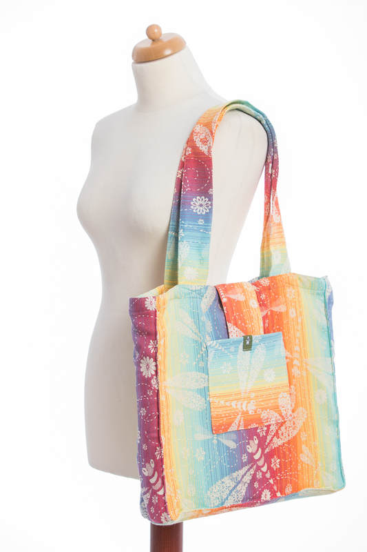 Shoulder bag made of wrap fabric (100% cotton) - DRAGONFLY RAINBOW - standard size 37cmx37cm #babywearing