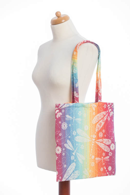 Shopping bag made of wrap fabric (100% cotton) - DRAGONFLY RAINBOW  #babywearing