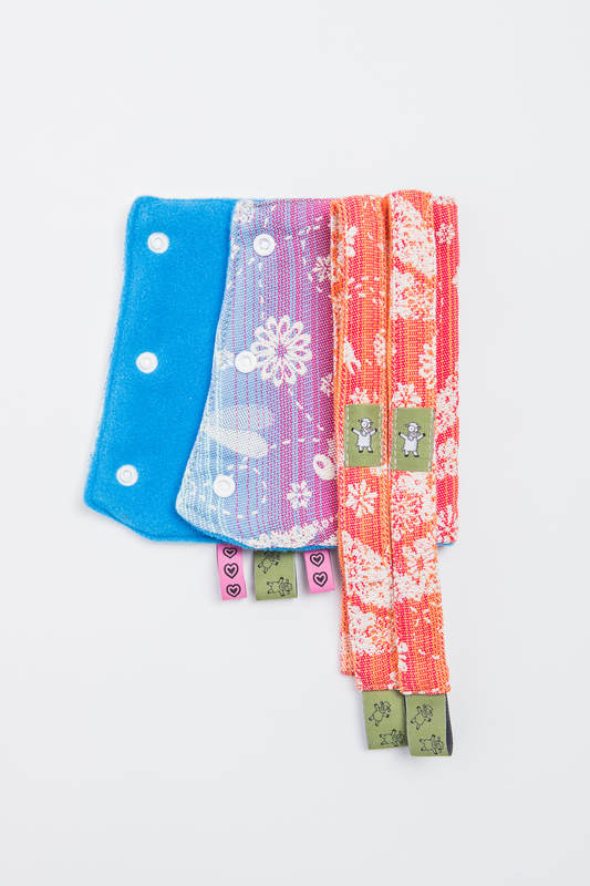 Drool Pads & Reach Straps Set, (60% cotton, 40% polyester) - DRAGONFLY RAINBOW #babywearing