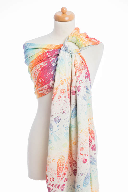 Ringsling, Jacquard Weave (100% cotton) - with gathered shoulder -  DRAGONFLY RAINBOW - long 2.1m #babywearing