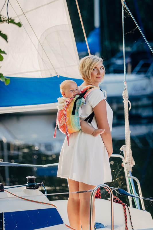 Lenny Buckle Onbuhimo Tragehilfe, Größe Toddler, Jacquardwebung (100% Baumwolle) - DRAGONFLY RAINBOW #babywearing