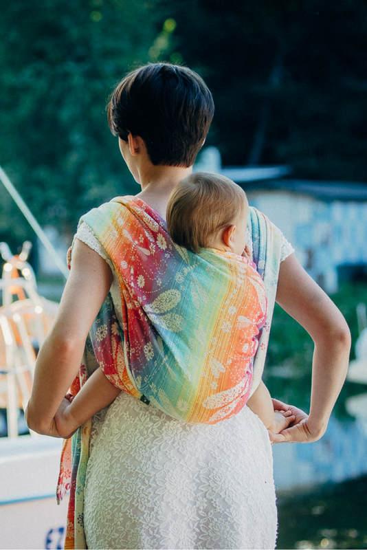 Fular, tejido jacquard (100% algodón) - DRAGONFLY RAINBOW - talla XS #babywearing