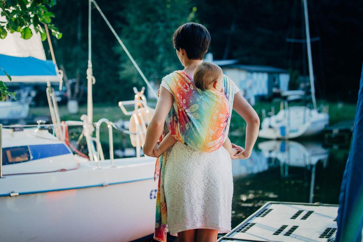 Żakardowa chusta do noszenia dzieci, bawełna - WAŻKI TĘCZOWE - rozmiar L #babywearing