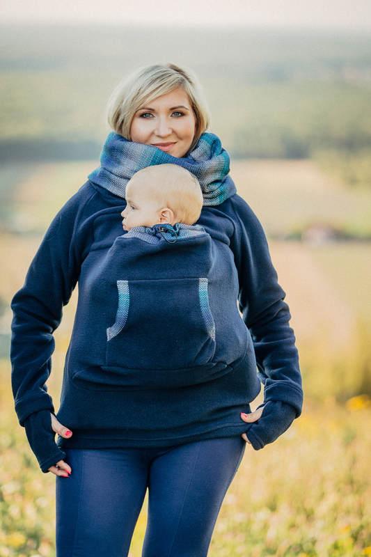 Fleece Babywearing Sweatshirt - size XXL - navy blue with Little Herringbone Illusion (grade B) #babywearing