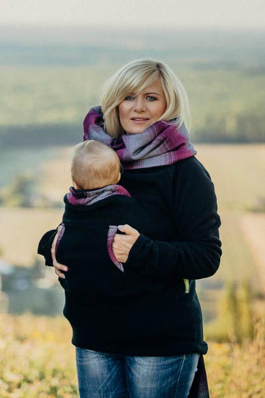 Polarowa bluza do noszenia dzieci - rozmiar M - czarna z Małą Jodełką Inspiracją (drugi gatunek) #babywearing