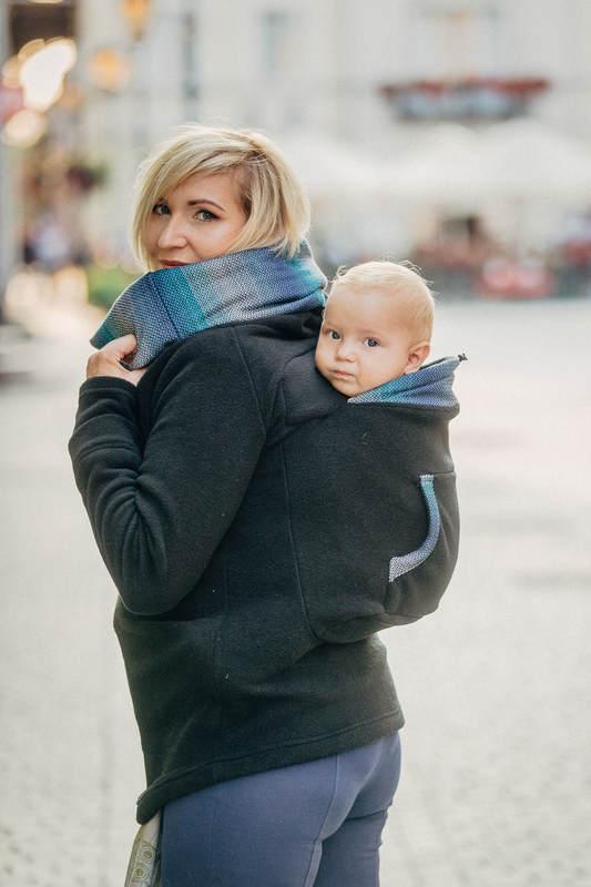 Fleece Babywearing Sweatshirt - size XXL - black with Little Herringbone Illusion (grade B) #babywearing