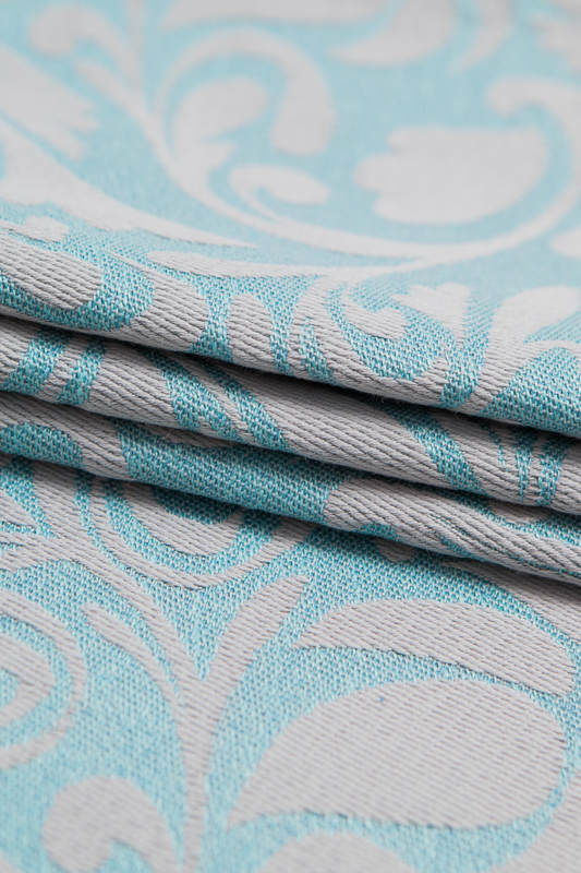 Baby Wrap, Jacquard Weave (60% cotton 28% linen 12% tussah silk) - TWISTED LEAVES GREY & TURQUOISE - size XL #babywearing