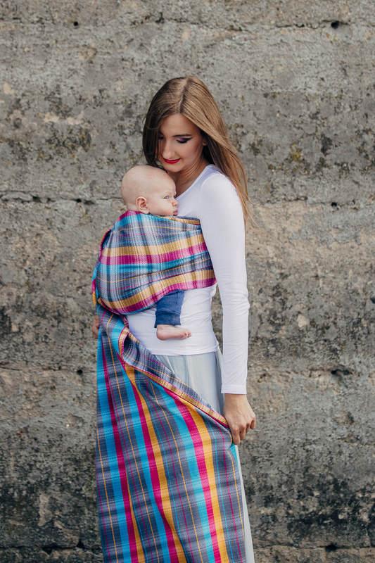Chusta kółkowa, splot jodełkowy, (100% bawełna) - MAŁA JODEŁKA ŚWIATŁA MIASTA - standard 1.8m #babywearing