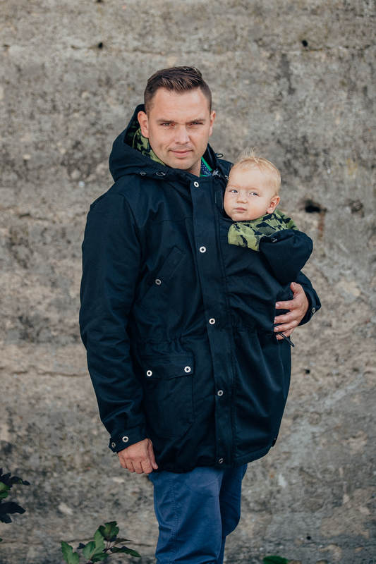 Parka Babywearing Coat - size 4XL - Black & Customized Finishing #babywearing