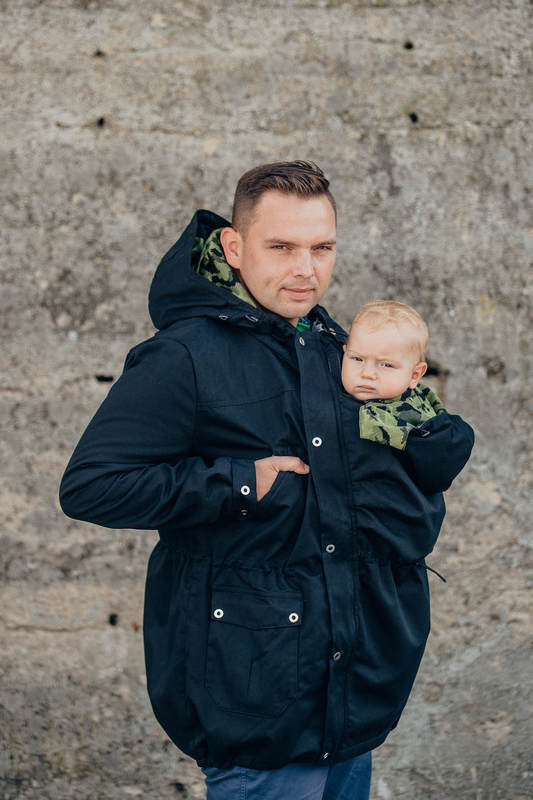 Parka Babywearing Coat - size XL - Black & Customized Finishing #babywearing