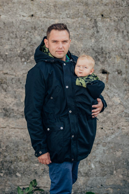 Parka Babywearing Coat - size M - Black & Customized Finishing #babywearing