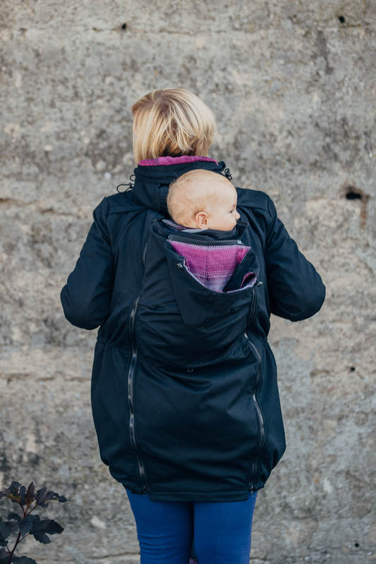Parka Babywearing Coat - size XXL - Black & Customized Finishing #babywearing