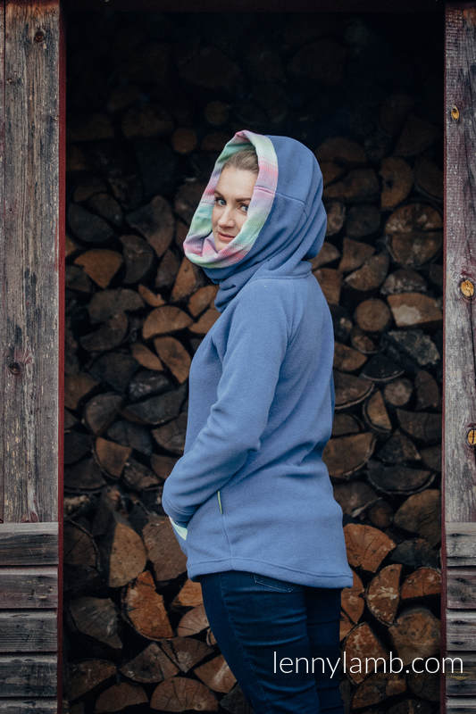 Fleece Sweatshirt - size XL - blue with Little Herringbone Impression (grade B) #babywearing