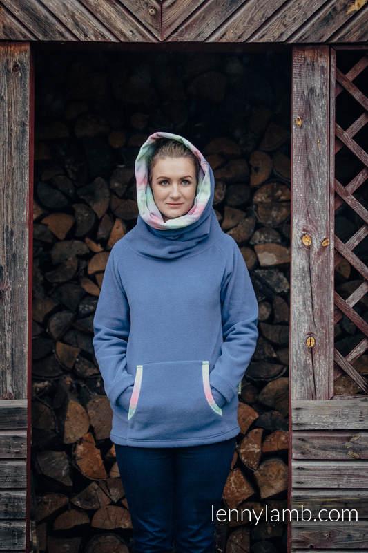 Polarowa bluza - rozmiar M - niebieska z Małą Jodełką Impresją #babywearing
