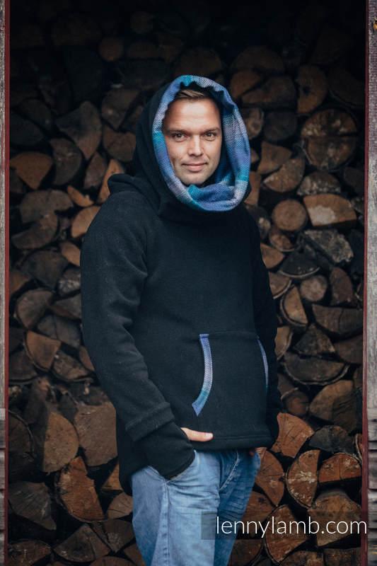 Fleece Sweatshirt - size S - black with Little Herringbone Illusion #babywearing