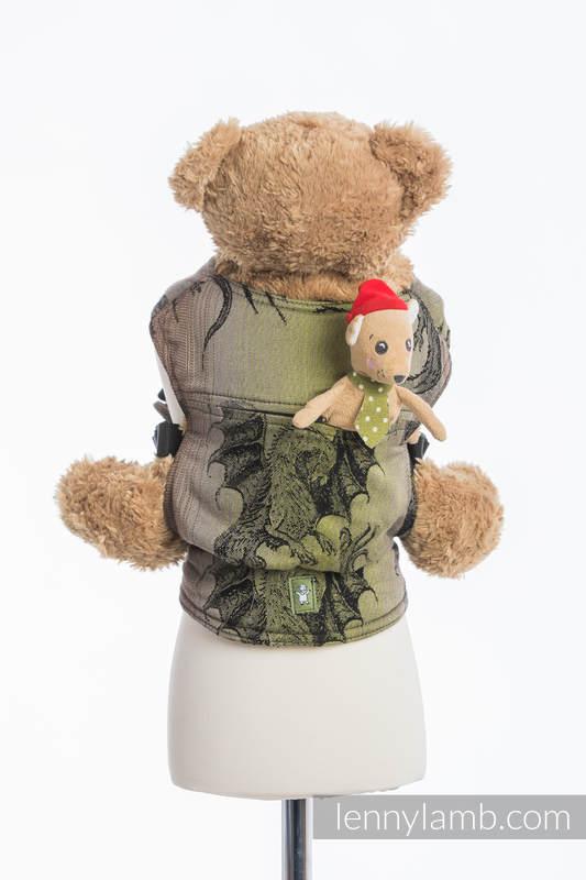 Mochila portamuñecos hecha de tejido, 100% algodón - DRAGON VERDE & MARRÓN #babywearing