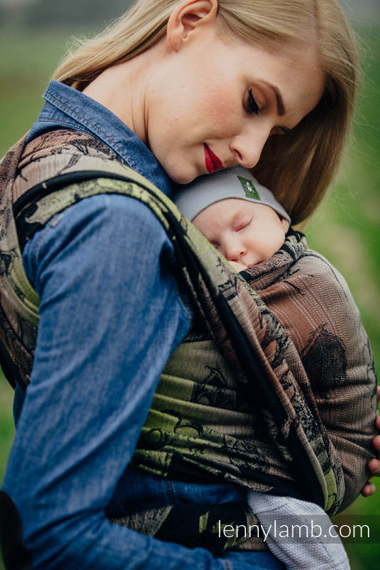 Baby Wrap, Jacquard Weave (100% cotton) - DRAGON GREEN & BROWN - size M (grade B) #babywearing