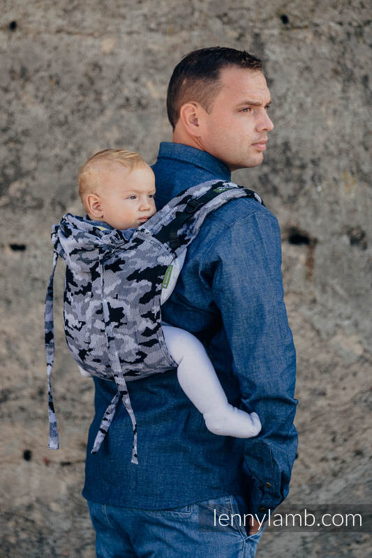 Lenny Buckle Onbuhimo baby carrier, standard size, jacquard weave (100% cotton) - GREY CAMO #babywearing