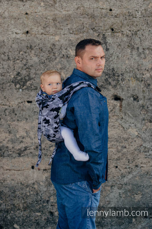 Lenny Buckle Onbuhimo Tragehilfe, Größe Standard, Jacquardwebung (100% Baumwolle) - GRAU CAMO #babywearing