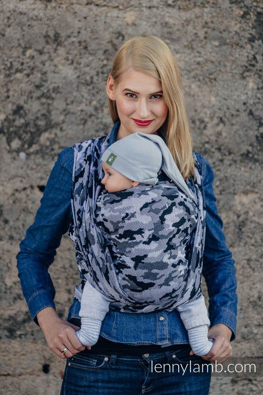 Żakardowa chusta do noszenia dzieci, bawełna - SZARE MORO - rozmiar XS #babywearing
