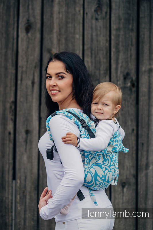 Lenny Buckle Onbuhimo, toddler size, jacquard weave (100% cotton) - Wrap conversion from TWISTED LEAVES CREAM & TURQUOISE  #babywearing