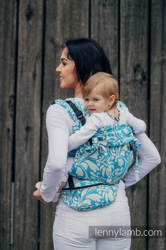 Waist Bag made of woven fabric, (100% cotton) - TWISTED LEAVES CREAM & TURQUOISE  #babywearing