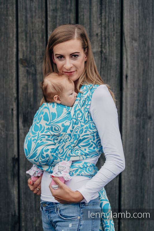 Baby Wrap, Jacquard Weave (100% cotton) - TWISTED LEAVES CREAM & TURQUOISE - size S #babywearing
