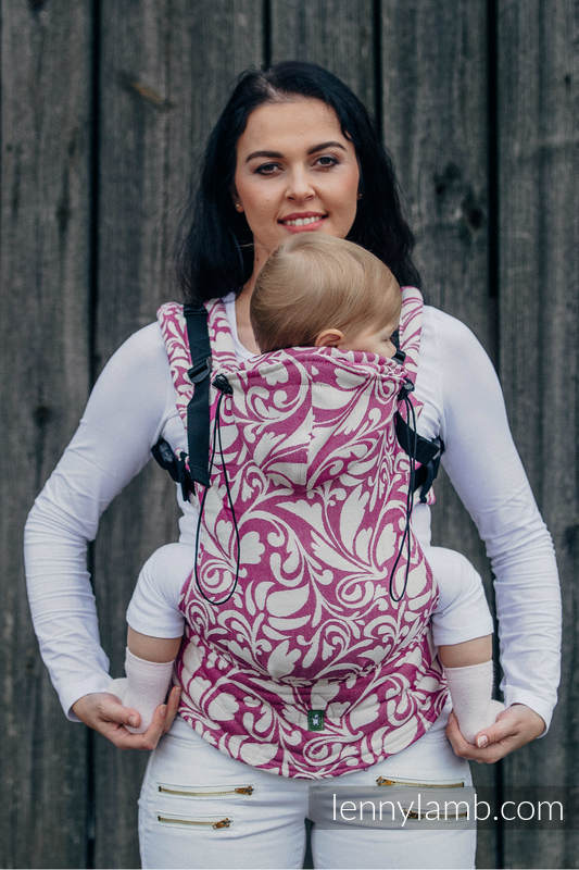 Ergonomic Carrier, Toddler Size, jacquard weave 100% cotton - wrap conversion from TWISTED LEAVES CREAM & PURPLE - Second Generation #babywearing